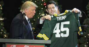 Paul Ryan presents Donald Trump with a Green Bay Packers jersey during a Thank You Tour 2016 rally  in West Allis, Wisconsin. Photo: Scott Olson/Getty Images