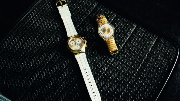 Minimalist style: Soukaina (€165) and the Rayon de Soleill (€75) from Swatch