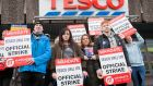 Tesco staff on strike at the retailer's store in Phibsborough, Dublin. Photograph: Gareth Chaney/Collins