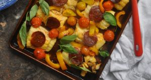Lilly Higgins: Roast whiting with chorizo and tomatoes