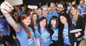 Staff take a selfie at the Indeed EMEA headquarters  in Dublin after it announced plans to expand.  Photograph: RollingNews.ie