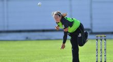Isobel Joyce: battled bravely with a defiant 33 but Ireland slid to an 86-run loss in their Super Six clash in Colombo. Photograph: Inpho