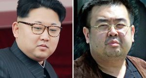 North Korean leader Kim Jong-un and his half-brother Kim Jong-nam, who was killed in a Malaysian airport  earlier this week. Photographs: Wong Maye-E, Shizuo Kambayashi/AP Photos