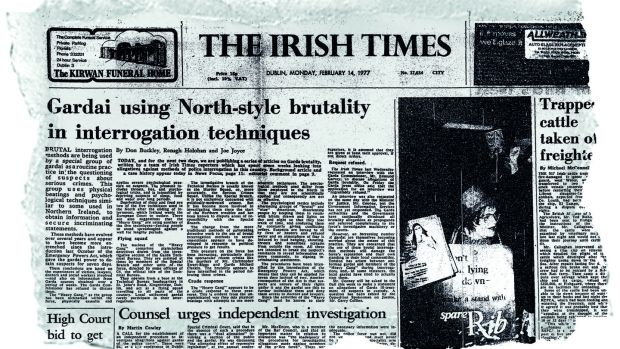 "The Irish Times headline that broke the '""heavy gang"" story in 1997"