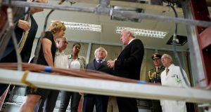 "President Higgins visiting Pedro Kouri Institute for Tropical Medicine  in  Havana  on the third day of his State visit. ""As Cuba is enabled to reopen onto the world at this juncture of a new era, can we imagine new relations between freedom and justice?"" Photograph: Maxwell's"