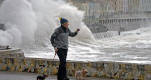 HIGH TIMES: High winds, high waves, high tide  - it all comes together at Sandycove, Co Dublin. Photograph: Eric Luke/The Irish Times