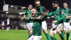 Cork City's  Kevin O'Connor celebrates scoring their second goal  with Karl Sheppard and Sean Maguire during the President's Cup match against  Dundalk at Turner's Cross. Photograph: Ryan Byrne/Inpho