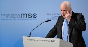 US Senator John McCain speaks during the 53rd Munich Security Conference (MSC) in Munich, Germany, on Friday. Photograph: EPA