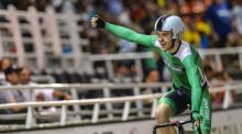 Mark Downey of Ireland celebrates after winning the gold medal in the UCI Cycling World Cup, men's points race final, at Alcides Nieto Patino velodrome. Photograph: Getty Images