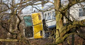 The scene of the train derailment in Leuven, Belgium on Saturday. Photograph: Julien Warnand/EPA