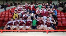 The Templemore team celebrate with the Harty Cup after their win. Photograph: Donall Farmer/Inpho