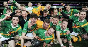 Carrickshock players celebrate their victory over Ahascragh-Fohenagh in the All-Ireland Club Intermediate Hurling Championship Final at Croke Park. Photograph: Tommy Grealy/Inpho