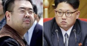 Combination of file photographs shows Kim Jong Nam (left) exiled half-brother of North Korea's leader Kim Jong Un. Photograph: AP Photos/Shizuo Kambayashi, Wong Maye-E, File