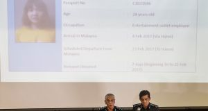 Royal Malaysian Police deputy inspector-general Noor Rashid Ibrahim speaks (L) during a press conference in Kuala Lumpur on Sunday. Photograph: EPA