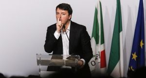 Former Italian prime minister Matteo Renzi makes a point during a national assembly of the Democratic Party PD), in Rome on Sunday. Photograph: Giuseppe Lami/ANSA via AP
