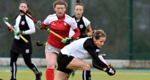 Karen Bateman of Cork Harlequins in action against Pegasus. Photograph: Rowland White/Presseye/Inpho