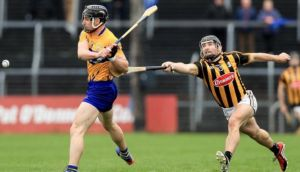 Kilkenny's Richie Hogan tries to close down Clare's Seadna Morey during his side's comprehenzive league defeat. Photograph: Donall Farmer/Inpho