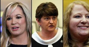 Michelle O'Neill replaced Martin McGuinness as Sinn Féin's leader in the North last month; Arlene Foster has been running the DUP since 2015 and last year Naomi Long took over as Alliance Party leader. Photographs: Agencies