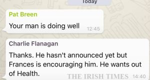 A screengrab from the Fine Gael Whatsapp group showing Charlie Flanagan's comment that Simon Harris wants out of the Department of Health.