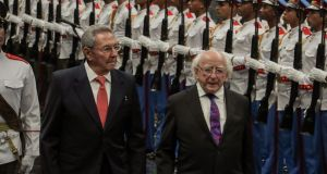 At a meeting and dinner with Cuban president Raúl Castro,   Mr Higgins  brought up the issue  of human rights in Cuba in a clear but polite manner. Photograph: Adalberto Roque/AFP/Getty Images
