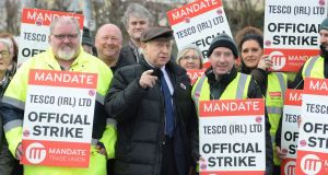 Trade unionist Arthur Scargill  on picket duty with Tesco workers in Artane, Dublin.  Photograph: Cyril Byrne