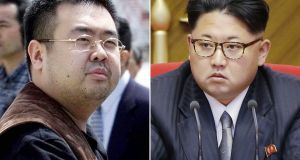 Kim Jong-nam (left), the late, estranged half-brother of North Korean leader Kim Jong-un. Photograph: Shizuo Kambayashi/AP