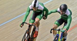 Mark Downey (L) and Felix English secured an impressive silver medal for Ireland in the track World Cup in Colombia. Photograph: Luis Robayo/Getty