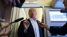 When will he exit? US president Donald Trump speaks with reporters in the press cabin of Air Force One before a rally at Orlando Melbourne International Airport, in  Florida on Friday, February 18th, 2017. Photograph: Al Drago/The New York Times