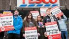 Tesco staff on strike at the retailer's store in Phibsborough, Dublin last week. Photograph: Gareth Chaney/CollinsDerry