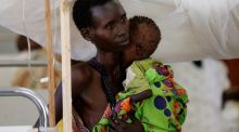 A woman and her child in a hospital ward in the capital Juba, South Sudan. Photograph: Siegfried Modola/Reuters