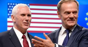 "Mike Pence and Donald Tusk: The US vice-president and the president of the European Council had a ""cordial and constructive meeting"" in Brussels on Sunday. Photograph: Thierry Charlier/AFP/Getty Images"