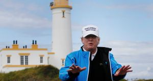 US president Donald Trump pictured at Trump Turnberry Resort in Scotland in August 2015. Photograph: Russell Cheyne/Reuters