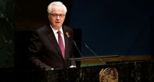 File image of Russia's ambassador to the UN Vitaly Churkin addressing the UN General Assembly  in New York, US. Mr  Churkin has died at the age of 64. File photograph: Jason Szenes/EPA