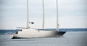 Sailing Yacht A, which is under ship arrest in Gibraltar. File photograph: Keld Navntoft/EPA