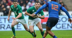 Ireland's Jonathan Sexton and Robbie Henshaw will hope to make inroads in the France defence this weekend. Photograph: Billy Stickland/Inpho