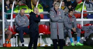 Arsenal manager Arsene Wenger remonstrates with the fourth official during their FA Cup fifth round win over Sutton United. Photo: Andrew Couldridge/Reuters