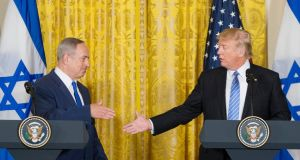 Israeli prime minister Binyamin Netanyahu  with US president Donald Trump whose statement that he favoured neither the two-state solution nor the one-state solution has unsettled Palestinians, Israelis,   and the international community. Photograph: Michael Reynolds/EPA