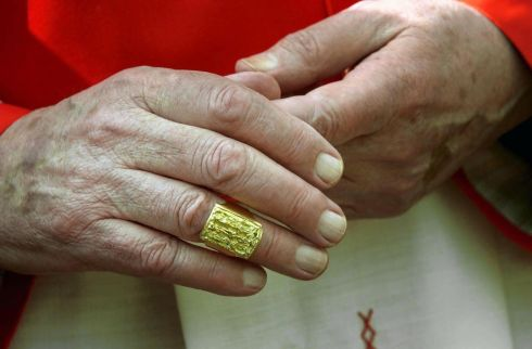 22/2/2001: Cardinal Desmond Connell wears the cardinal's ring he received from Pope John Paul II in St Peters Square at the Eucharistic Concelebration and Presentation of Rings.  Photograph: Bryan O'Brien