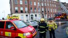 Dublin Fire Brigade were called to a  fire at a building in Mountjoy Square in Dublin about 7.20am. Photograph: Cyril Byrne/The Irish Times