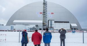 In December an enormous sarcophagus, the largest moving structure ever built, was put in place to seal the Chernobyl's reactor number four. Photograph: Brendan Hoffman/Getty Images