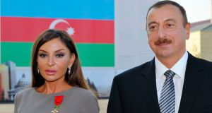 "Mehriban Aliyeva and Ilham Aliyev: The Azerbaijan president has named his high-profile wife ""first vice-president"", allowing her to assume power if he dies or becomes incapacitated. Photograph: Philippe Wojazer/AFP/Getty Images"