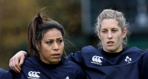 Sene Naoupu and Alison Miller: Irish management will  confirm at Thursday's team announcement if they will face France. Photograph: Billy Stickland/Inpho