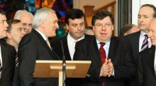Bertie Ahern jokes with Brian Cowen before announcing that he will resign as taoiseach in 2008. File photograph: Frank Miller