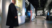 US president Donald Trump tours the Smithsonian National Museum of African American History and Culture in Washington today. Photograph: Kevin Dietsch/EPA