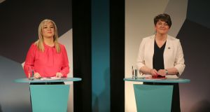 Sinn Féin's Michelle O'Neill and DUP leader Arlene Foster: Both women have had strikingly similar executive careers, marked by unusually long and mediocre tenures in a single, safe department. Photograph: Niall Carson/PA
