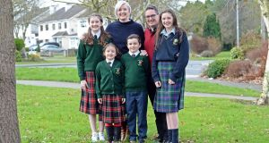 Eimear and Sean de Faoite with children Ailbhe (6), Fionan (9), Naoise (12) and Ciara (14), at Kilcock, Co Kildare. Photograph: Eric Luke