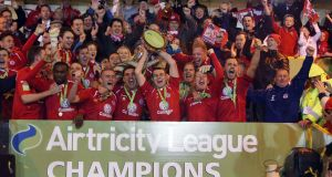 Sligo Rovers celebrate winning the Airtricity League in 2012. Photograph: Donall Farmer/Inpho