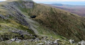 Apart from some long grass and reeds at the start of the summit ridge walk in the Sheeffry Hills in Co Mayo, the going is easy.