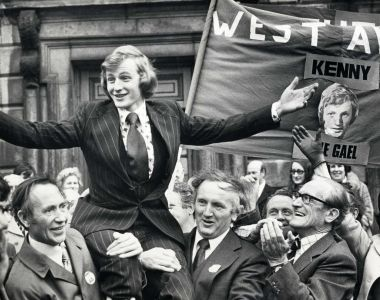 Enda Kenny is carried into Leinster House on November 19th, 1975, following his win in the Mayo West by-election. Photograph: Jimmy McCormack