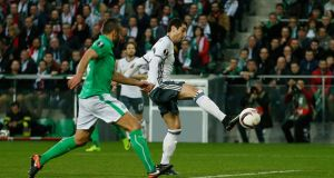Manchester United's Henrikh Mkhitaryan scores during the Uefa Europa League round of 32 second leg at Stade Geoffroy-Guichard. Photograph: Andrew Boyers/Action Images via Reuters/Livepic